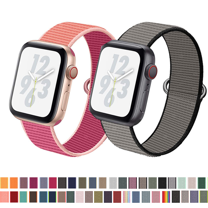 Nylon Loop Band For Apple Watch 5 4 40MM 44MM Nylon Soft Breathable Replacement Strap For Iwatch Series 3 2 1 38MM 42MM
