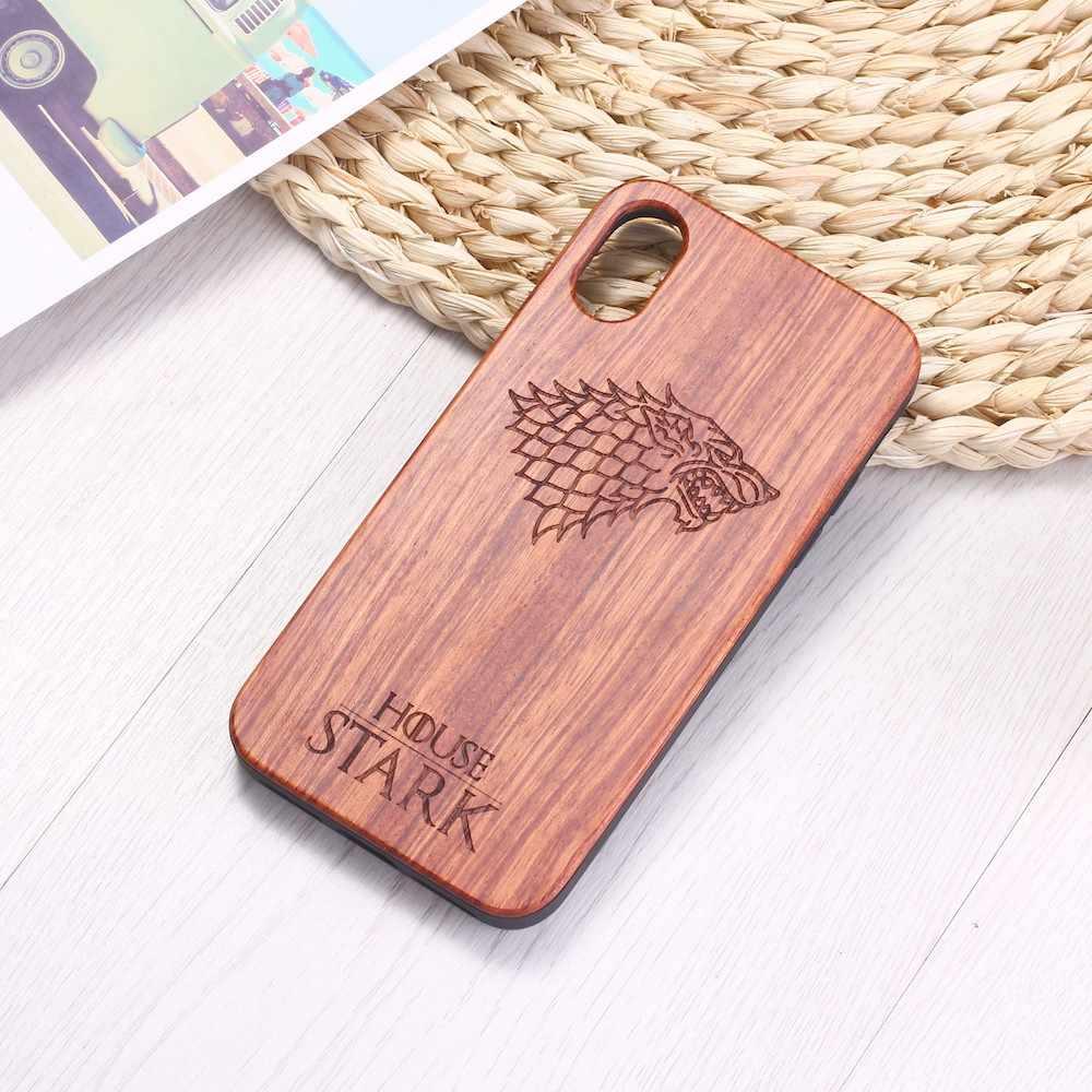 เกม Thrones Winterfell หมาป่าไม้แกะสลักโทรศัพท์กรณี Coque Funda สำหรับ iPhone 6 6S 6Plus 7 7Plus 8 8Plus XR X XS สูงสุด 11 Pro Max
