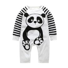 Newborn Baby Romper + hat Cute Panda Cotton Hat Two-piece Long sleeve Autumn Winter Jumpsuits Clothes Set