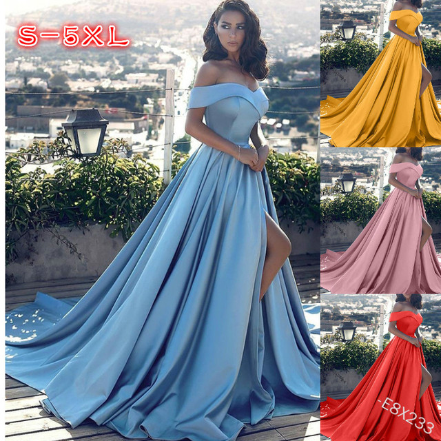 Fashion Elegant Boat Neck Evening Dresses for Women Party Classy Night Lady Sexy Off The Shoulder Slit Ball Gown Prom Vestidos 6