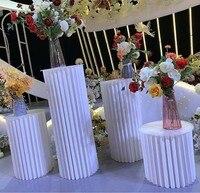 Estante de exhibición de Pedestal de Cilindro plegable de papel, soporte de pilares de arte para bricolaje, soporte de mesa de pastel de vacaciones de boda, columnas de soporte, 4 Uds.