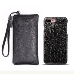 Cartera de cuero Real + funda trasera para iphone 7 8 Plus 5,5 funda para iphone 8 trasera de cuero genuino de lujo más bolsa MYL-45K