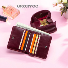GROJITOO  fashion first layer cowhide women's wallet genuine leather multi-functional card bag