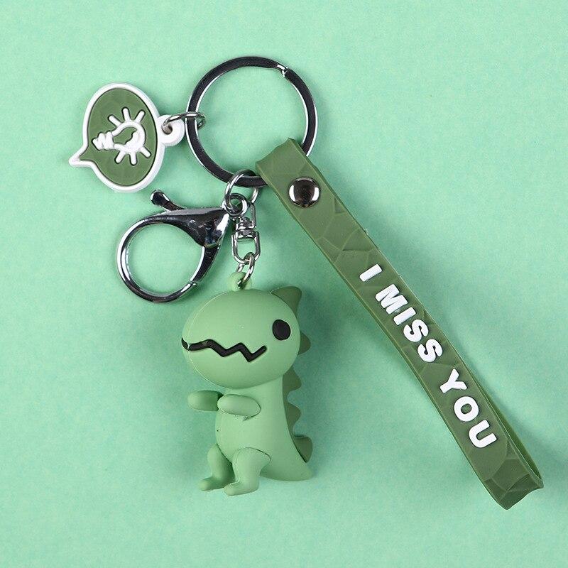 2019 New Fashion Cute Dinosaur Keychain Cute Key Ring Fashion Cartoon Key Chain Creative Car Bag Phone Key Ring Girl Keyring