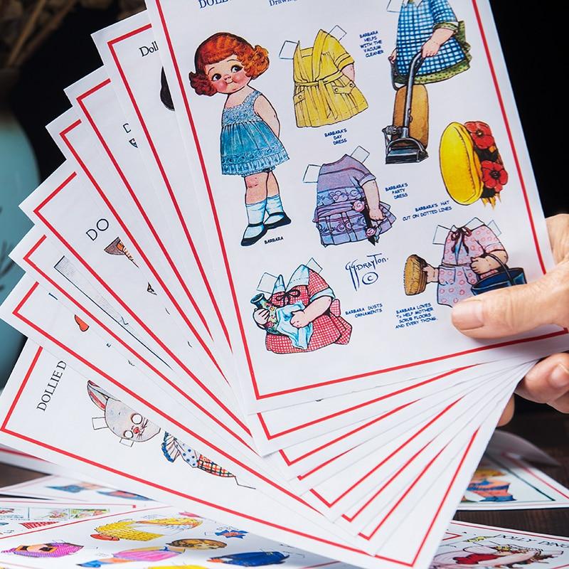 4Pcs/Pack Hand Draw Doll Dressup Lovely Girls Sticker DIY Craft Scrapbooking Album Junk Journal Planner Decorative Stickers