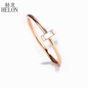 Image 5 - Женское кольцо с натуральным бриллиантом HELON, кольцо для помолвки из розового золота 18 К с огранкой багета AU750 0,05ct SI/H, модные ювелирные украшения
