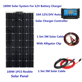 100W Flexible Solar Panel with 10A Solar Controller 3M Cable for Car RV Boat Home Roof Vans and Camping SUV 12V Solar Charger