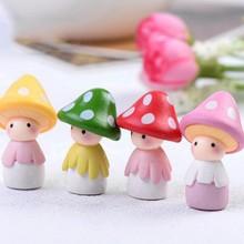 P2018 Creative 4pcs Cartoon Mushroom Resin Craft Cabochons Home Decor Micro Landscape Fairy Garden Miniatures Accessories PGM