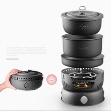 10pcs/Set Ultra-light Aluminum Alloy Camping Cookware Utensils Outdoor Cooking Teapot Picnic Tableware Kettle Pot Frying Pan