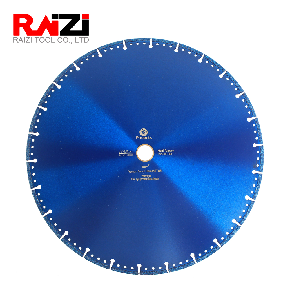 Raizi 14 Inch/350 Mm Vacuum Brazed Diamond Saw Blade For Cast Iron Steel Plastic Stone Multi Purpose Cutting Tool 1 Pc