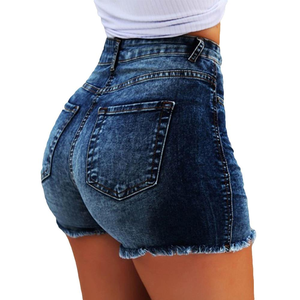 Summer High Waist Denim Shorts Women's Fringe Frayed Ripped Jeans Hot Shorts Denim Shorts Women's Fringe Frayed Ripped Jeans