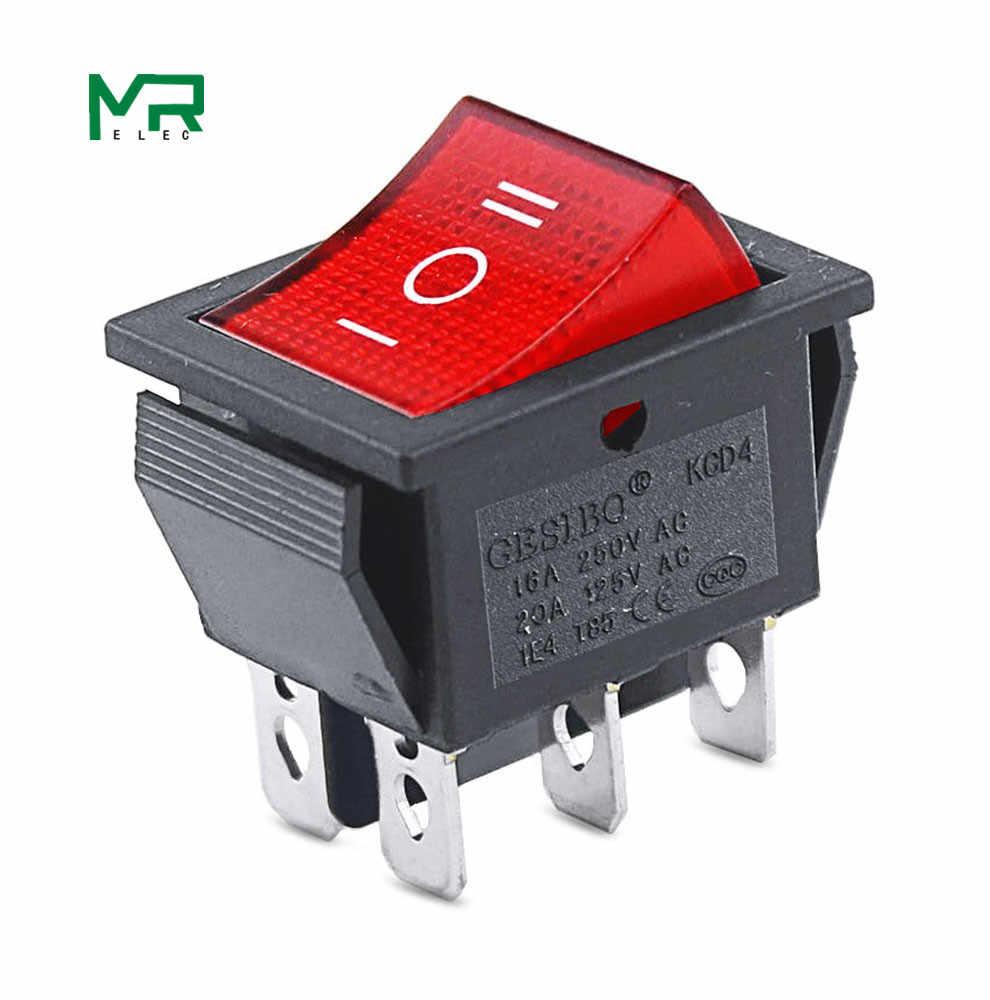 KCD4 1 pièces interrupteur à bascule noir interrupteur marche-arrêt-ON 3 positions 6 broches pas de lumières 16A 250VAC/20A 125VAC