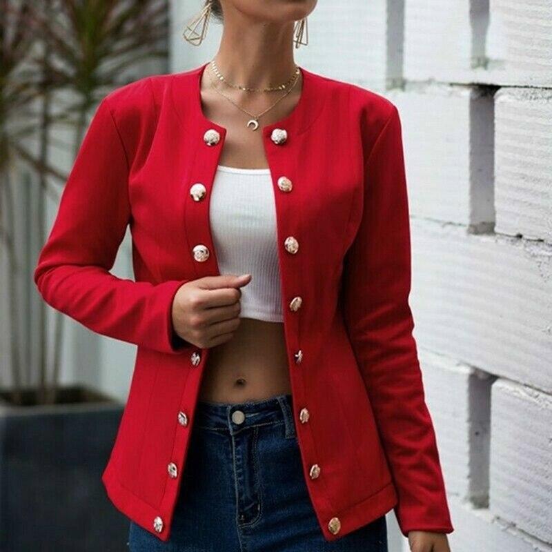 Women Autumn Blazer Slim Fit Smart Casual Button Long Sleeves Office Ladies Jacket Women's Double Breasted  Blazer Streetwear