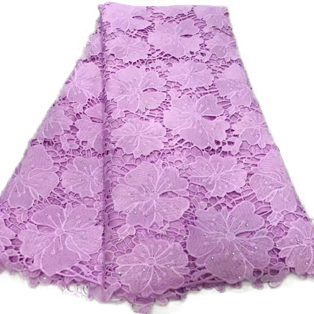 Purple African Lace French Guipure Cord Lace Fabrics For Wedding Dress 2019 Latest Nigerian Cotton Tulle Lace For Women High End