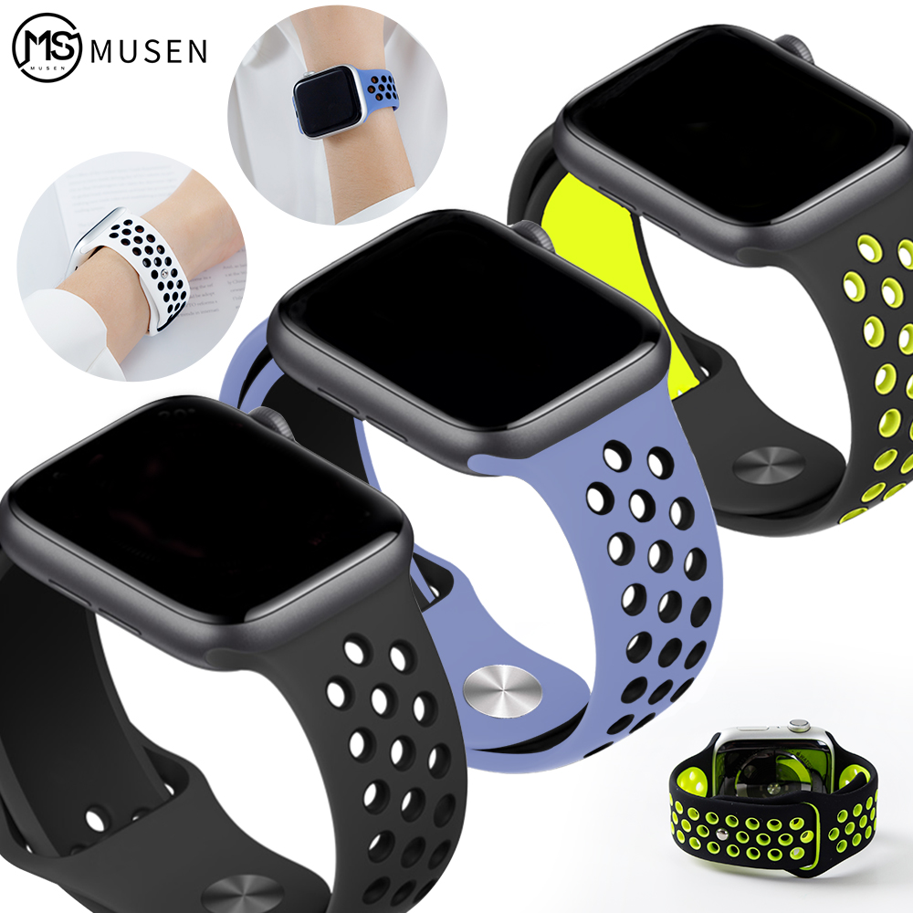 Elastic Breathable Silicone Sport Band For Apple Watch With 42 Mm 38 Mm 44 Mm 40 Mm Wrist Band, Apple Series 5/4/3/2/1 Universal