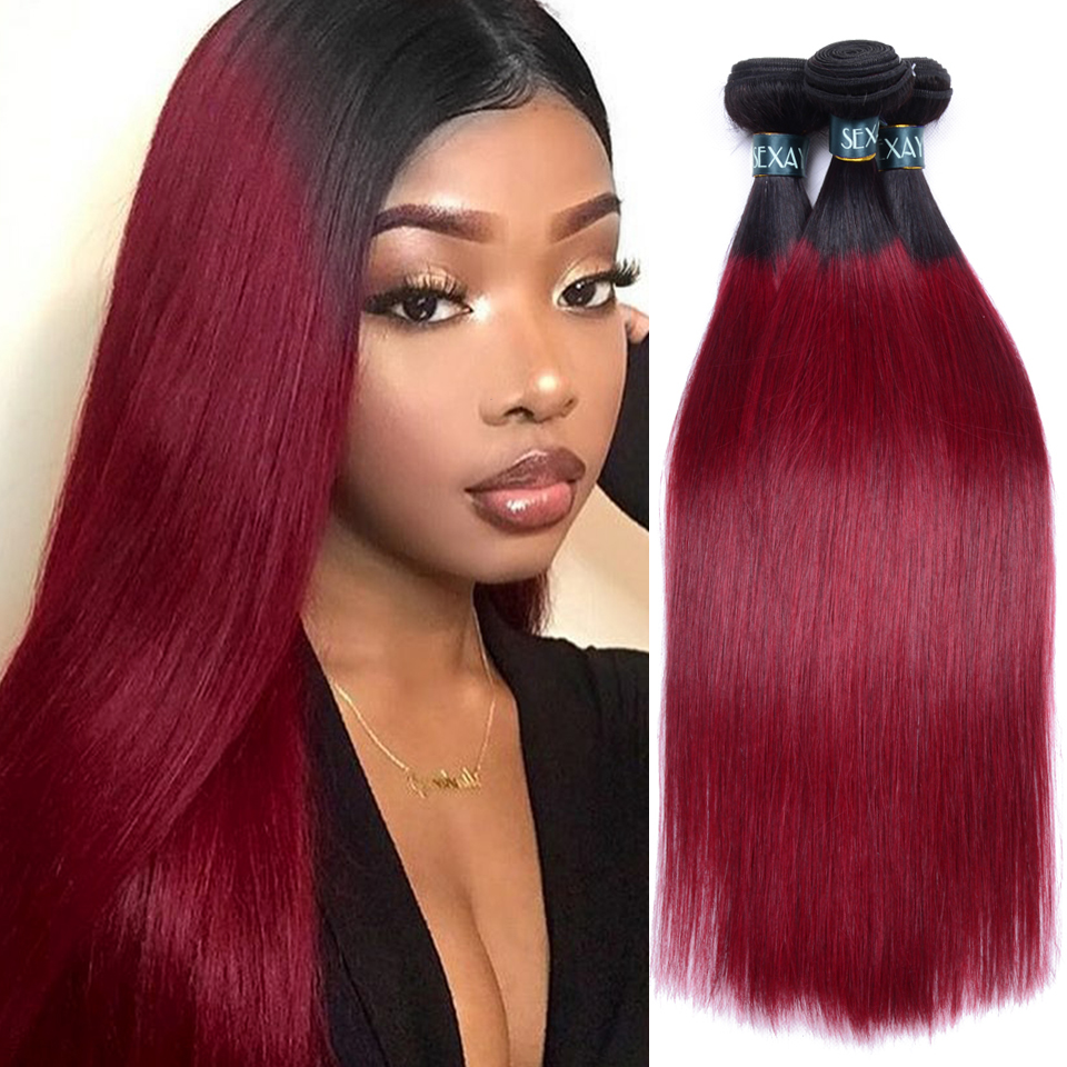 SEXAY Burgundy Bundles 3 Pcs Ombre Brazilian Straight Human Hair Weave Dark Roots Two Tone Ombre Wine Red Bundles Non Remy Hair