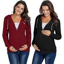 Куртка для беременных, зимняя женская куртка для беременных, зимнее пальто на молнии для кормления, толстовки с капюшоном, топы для грудного вскармливания, Wy4