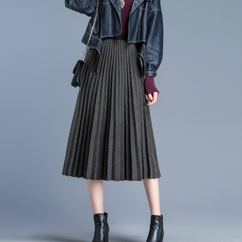 Autumn Winter Thick & Warm Wool Blend Pleated A-line Mid-calf Long Skirts Gray Coffee Beige