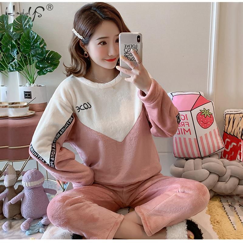 New arrival Flannel   Pajamas     Set   Women Pyjamas Thick Cute Sheep Female Warm Winter   Pajama     Set   Long Sleeve Two Piece Homewear
