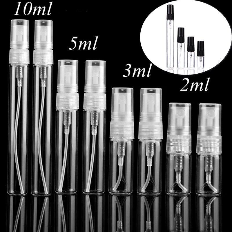 5 adet/paket 2ML 3ML 5ML 10ML taşınabilir siyah şeffaf Mini parfüm cam şişe boş kozmetik seyahat örnek Test tüpü ince şişeler