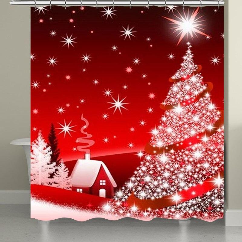 10 видов Рождественская задняя капля Снежный принт Водонепроницаемая занавеска для ванной комнаты занавеска для ванной унитаза коврик набор нескользящих ковриков - Цвет: RS003 Bath Curtain