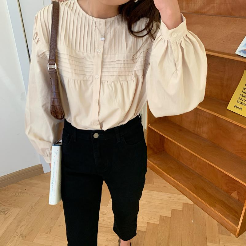 He3470cd92ad9495cb4690e58d98ffe46B - Spring / Autumn Korean O-Neck Long Sleeves Pleated Solid Buttons Blouse