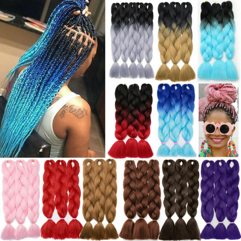 1PCS Ombre Synthetic Braid Dreads Dreadlocks Hair Extensions High Temperature Fiber Crochet Braids Women African Style