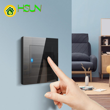 Black Toughened Glass 86Type Switch Socket Tempered Glass Brushed 1/2/3/4 Gang 1/2 Way Switches Led Guide Light Computer Tv Tele