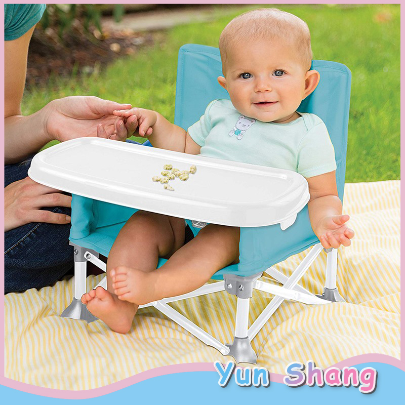 Baby High Chair Folding Portable Travel Booster Seat With Tray Camping Beach Lawn Tip-Free Design Kitchen Chairs High Chair
