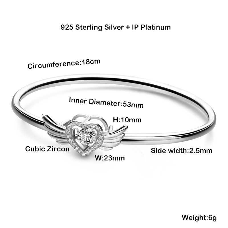 DICOTICO крылья Ангела сердце Шарм браслет для женщин 925 стерлингового серебра ювелирные изделия KFB774-T
