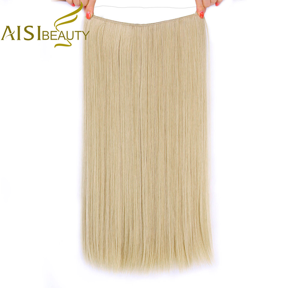 AISI BEAUTY No Clip In Halo Hair Extensions Invisible Wire Secret Fish Line Hairpieces Silky Straight Real Natural Synthetic