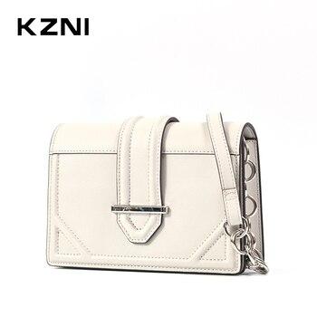 KZNI Women Bag  Genuine Leather Purse Crossbody tote bag Shoulder Clutch Female Handbags Sac a Main Femme De Marque 9165