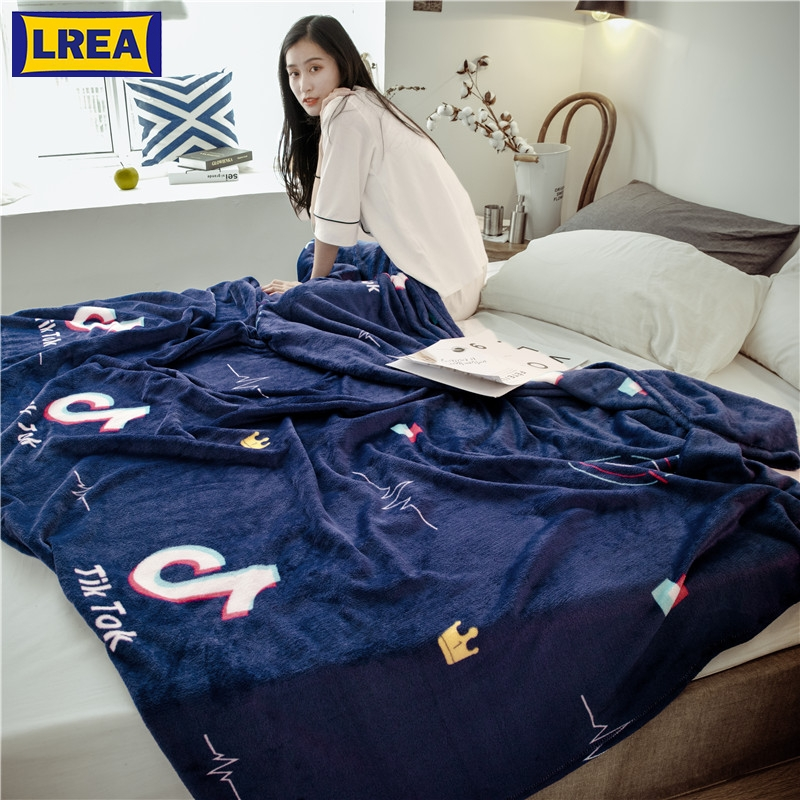 LREA 4sizes Blue Warm плед Bedspread Fleece Coral Blanket Adult Cover On The Bed Throw For Beds Home Textile Travel
