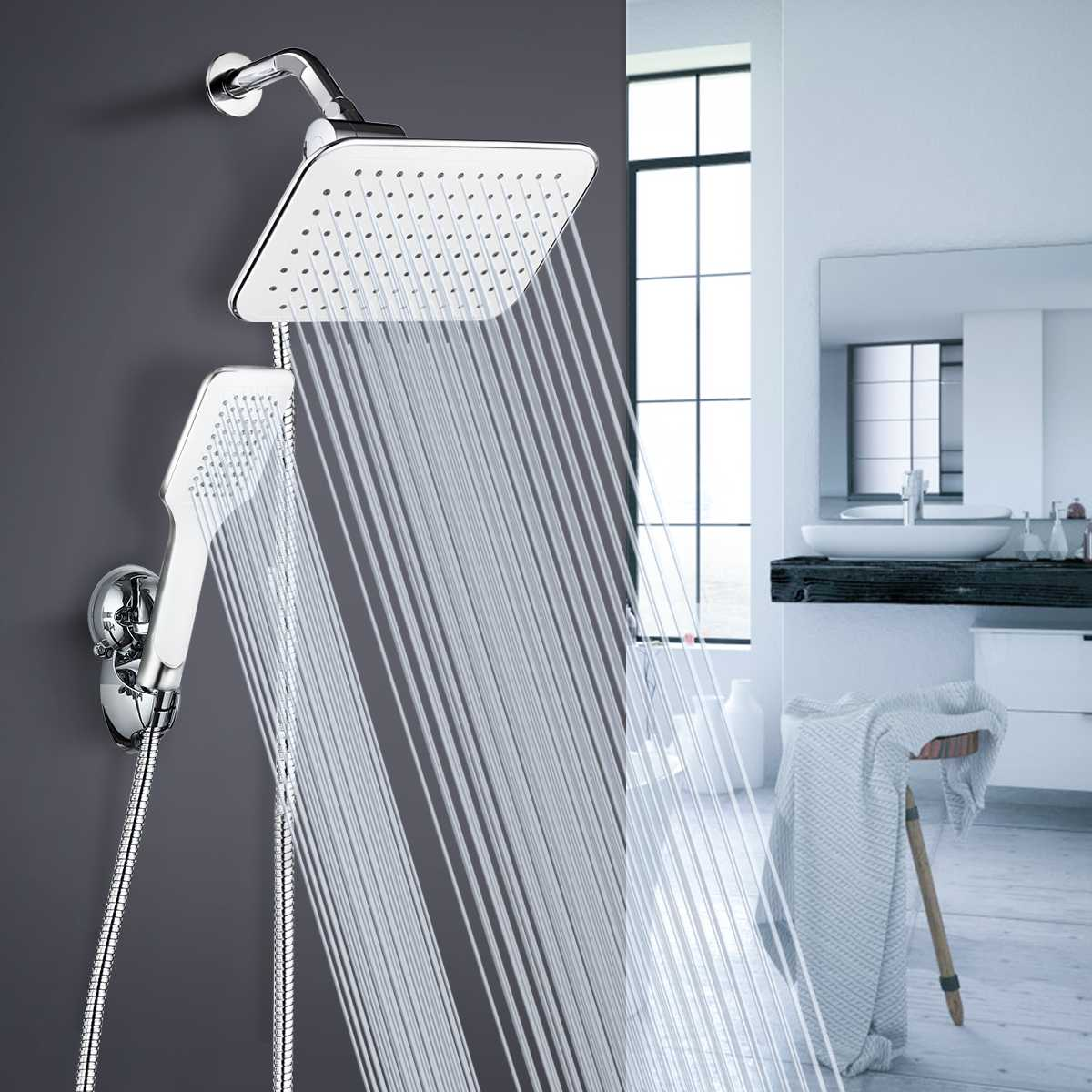 Shower Head Combo, Adjustable Rainfall Showerhead & Handheld Shower Head Combo With Strong Suction Cup Holder