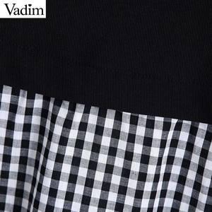 Image 5 - Vadim נשים אופנה משובצת טלאי חולצה ארוך שרוול O צוואר חולצות נקבה מקרית אופנתי חולצות blusas LB588