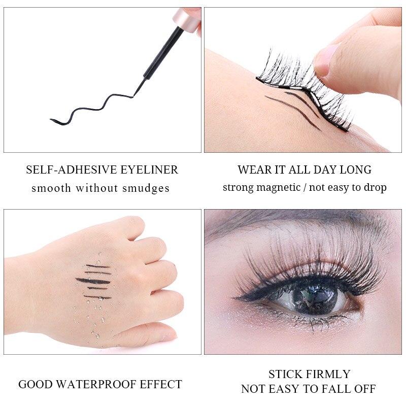 2Pairs Magnetic Eyelashes 3D False Mink Eyelashes Magnet Lashes Magnetic Liquid Eyeliner&Magnetic False Eyelashes & Tweezer Set 3