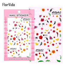FlorVida F095 Nail Art Stickers Flowers Decals Adhesive Colorful Black White Ant For Kids F Series Manicure