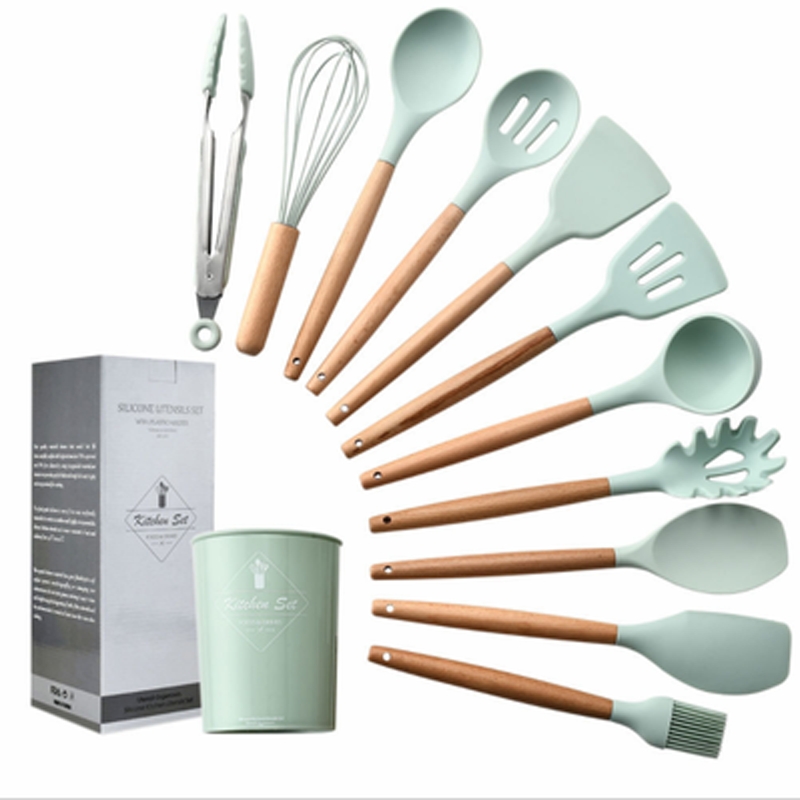 Image 5 - 9/10/12PCS Silicone Cooking Utensils Set Non stick Spatula Shovel Wooden Handle Cooking Tools Set With Storage Box Kitchen Tools-in Cooking Tool Sets from Home & Garden