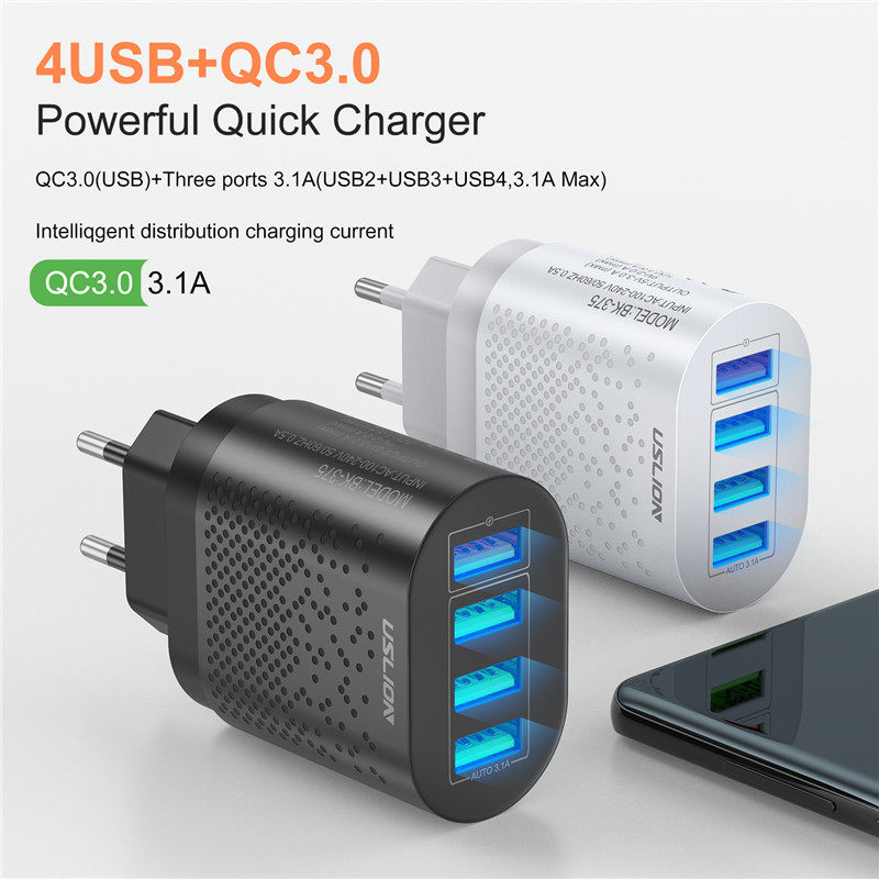 Uslion Eu/Us Plug Usb Charger 3A Quik Lading 3.0 Mobiele Telefoon Oplader Voor Iphone 11 Samsung Xiaomi 4 poort 48W Snel Muur Laders 2