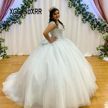 Ball-Gown Quinceanera-Dresses Birthday-Pageant Puffy Blue Plus-Size Sweet 15 16 Bow Bow-Back