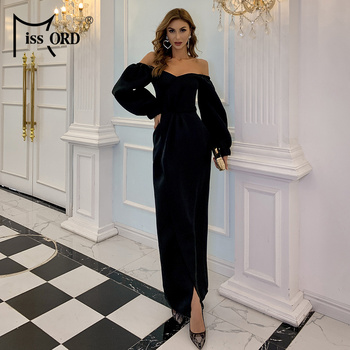 Missord 2020 Sexy Off the Shoulder Party Dress Long Sleeve Slash Neck Maxi Dress Women Solid Color  Dress Vestidos M0887 missord 2020 sexy off the shoulder sequin party dress women high split maxi dress long sleeve party bodycon dress vestidos m0806