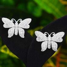 GODK Bohemian Butterfly Stud Earring For Women Accessories Full Cubic Zircon Earrings pendientes mujer moda 2020