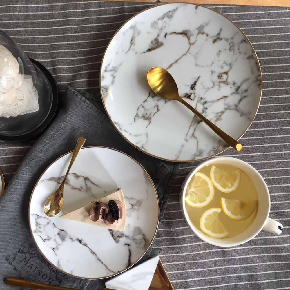Lekoch assiette à Dessert en porcelaine | 4 pièces assiette à dîner motif marbre, vaisselle en céramique assiette à Steak, salade Snack