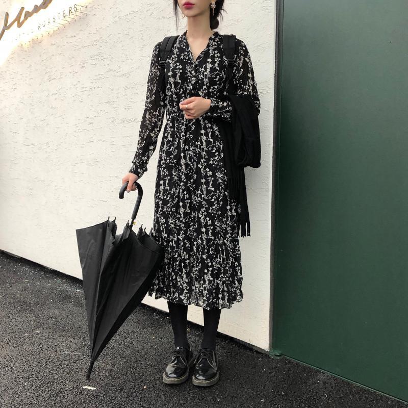 He347f6854aa746c2a0cb59d21c79fe3aU - Autumn Korean V-Neck Long Sleeves Chiffon Floral Print Midi Dress