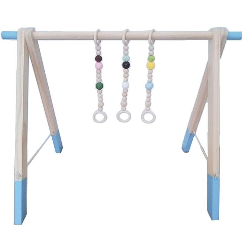 1Set Nordic Cartoon Baby Wooden Gym Fitness Frame Rack Hanging Pendant Beaded Toys Kit Toddler Infant Room Decorations