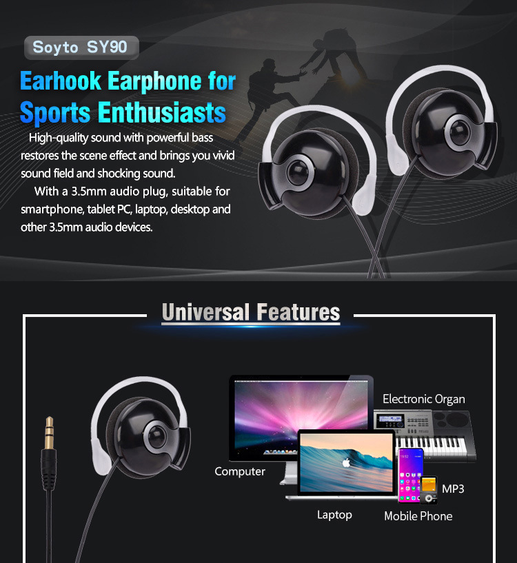 SY90 Bluetooth Earphone Earloop Earbuds Stereo Bluetooth Headset Wireless Sport Earpiece Handsfree With Mic For All Smart Phones