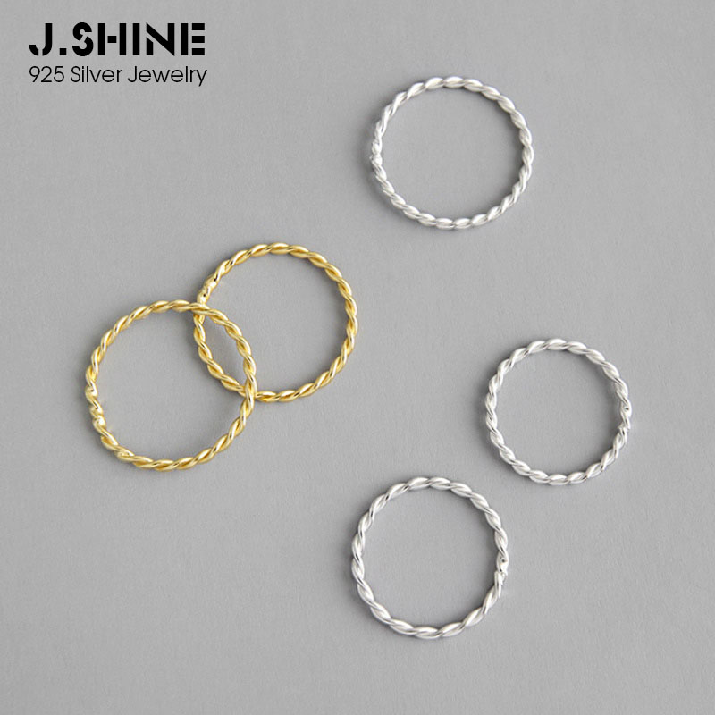 JShine Minimalist Silver Jewelry 925 Sterling Silver Rings For Women Classic Two-tones Thin Twist Ring Silver 925 Fine Jewelry