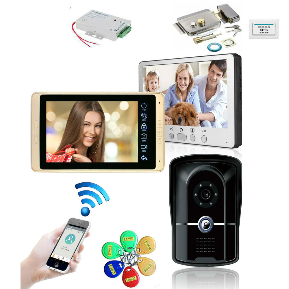 Video Door Phone Doorbell Wired Wifi Video Intercom System 7-inch Color Monitor And 1000TVL HD Camera With Door Unlock Night Vis
