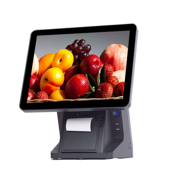 """Stock  15"""" capacitive touch screen Pos Pos all in one VFD POS System for restaurant"""