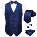 Männer Anzug Weste Paisley Formale Kleid Weste Fliege Krawatte Tasche Platz Set Hochzeit Weste Business Ärmellose Jacke DiBanGu